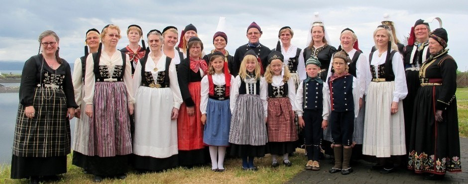 A large of haps icelanders in their National Costumes