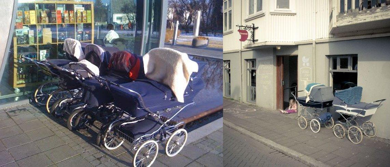 Icelanders leaving their children int he strollers, sleeping