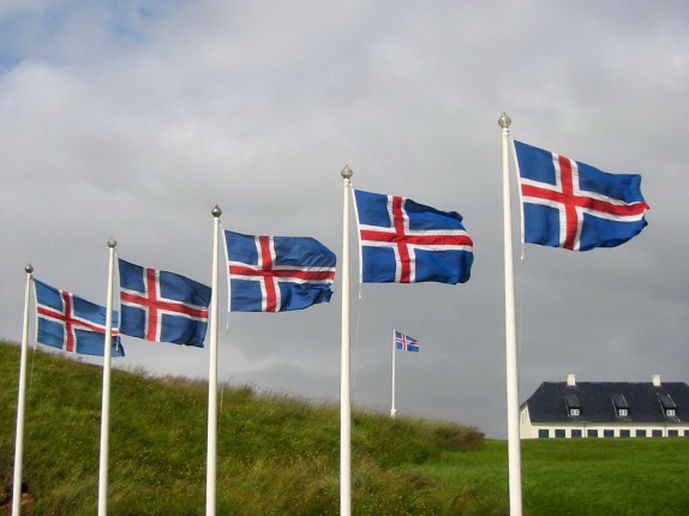 Array of Icelandic flags