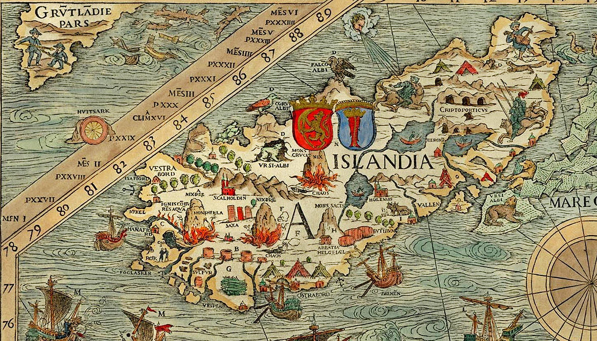 Ancient map of Iceland