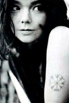 Bjork with her Vegvísir, Runic Compass tattoo