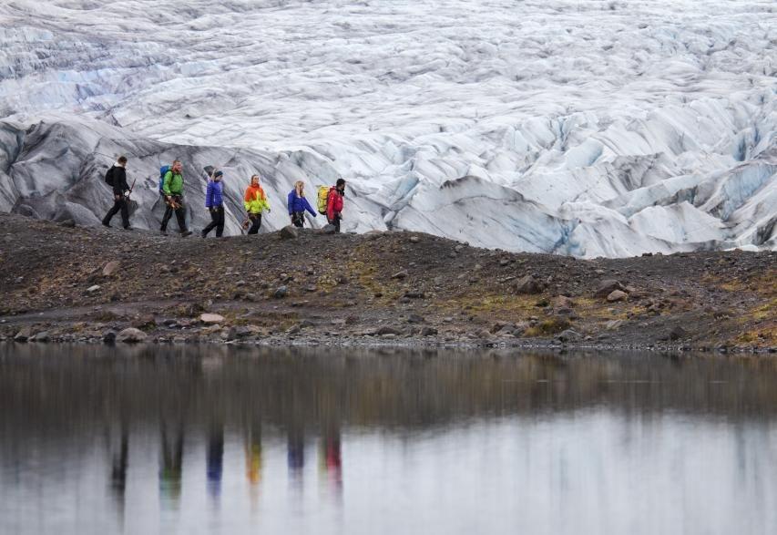 Walking towards the glacier