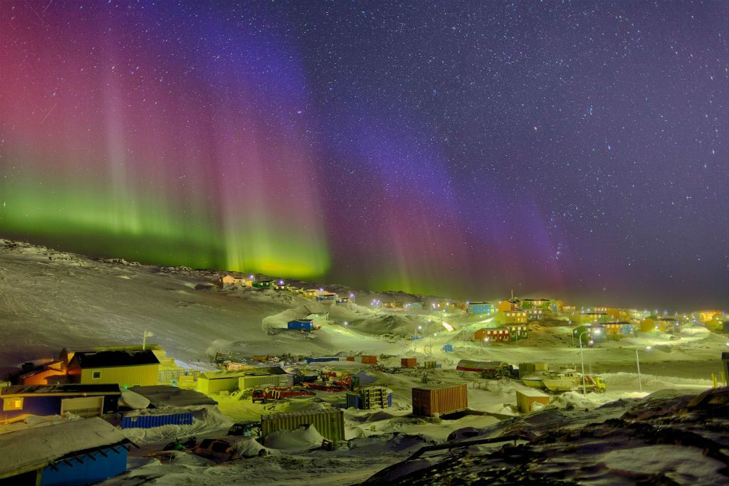 Northern Lights above town
