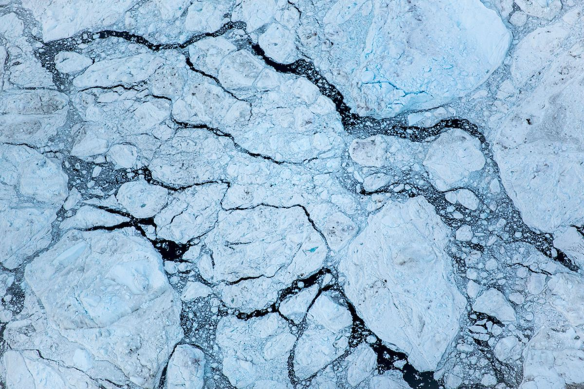 An Aerial View Of Iceberg Clusters In The Ilulissat Ice Fjord In Greenland