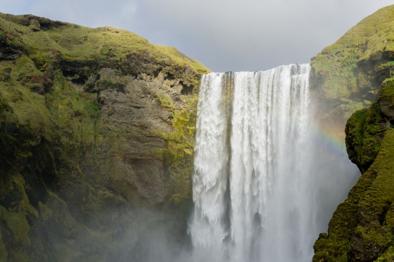 Skogafoss waterfall in the south coast of Iceland - South Shore Glacier Walk and Ice Climbing with Iceland Mountain Guides