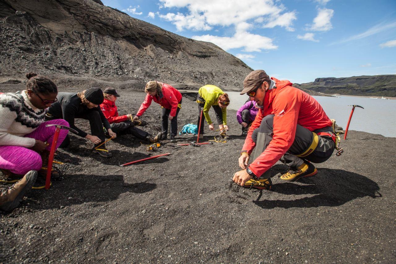 Preparing for a Glacier Walk on Sólheimajökull Glacier with Icelandic Mountain Guides