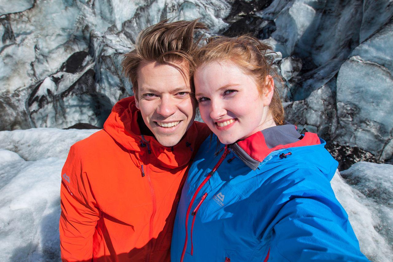 Glacier selfie during a Glacier Walk on Sólheimajökull glacier along the south coast of Iceland