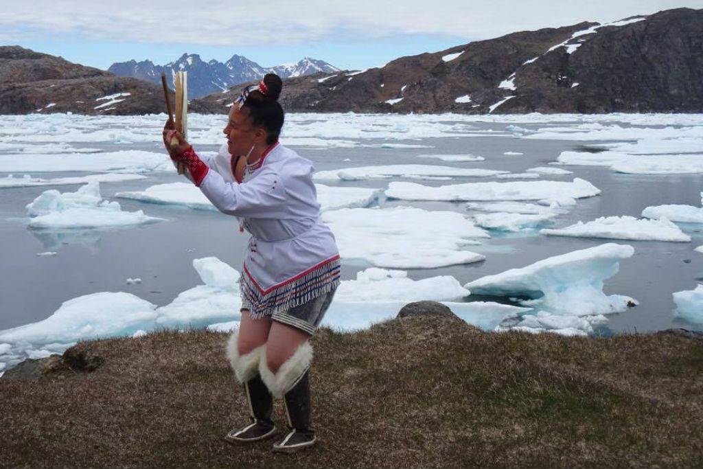 Talented Kristina Boassen doing the Greenlandic drum dance