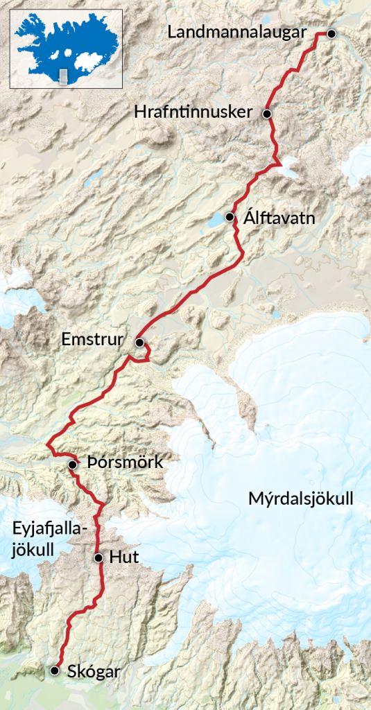 Trekking Landmannalaugar Skogar Map