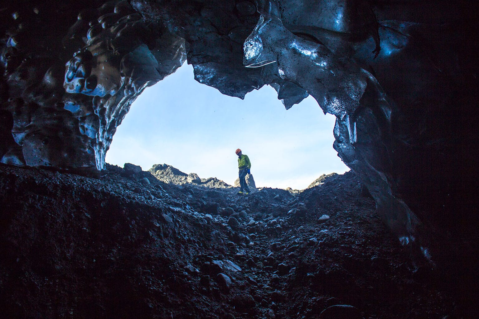 In the mouth of the cave