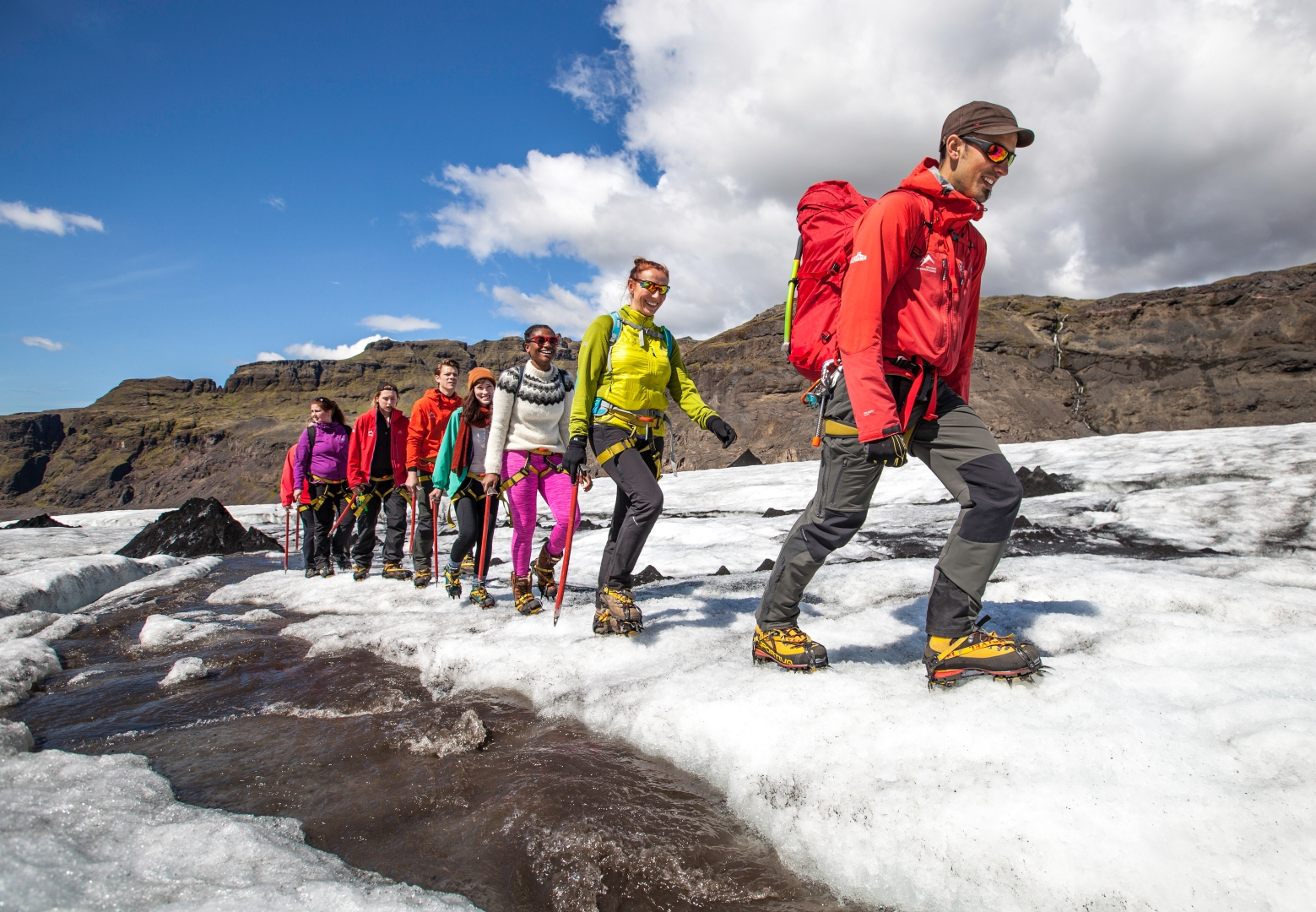 Heading higher up on the glacier