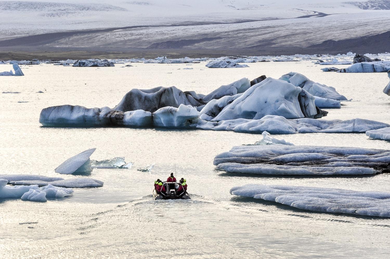 On a rubber boat exploring the glacier lagoon