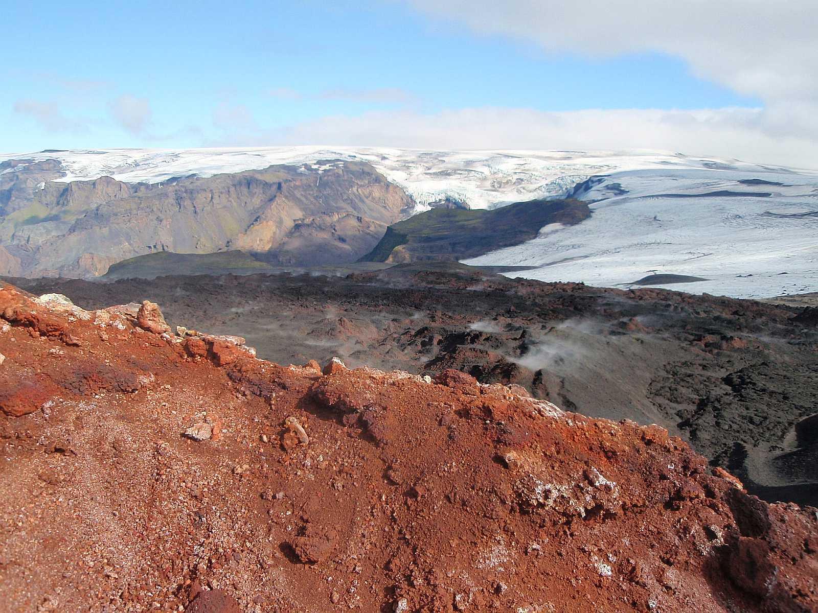 Volcanic rock and Mýrdalsjökull glacier