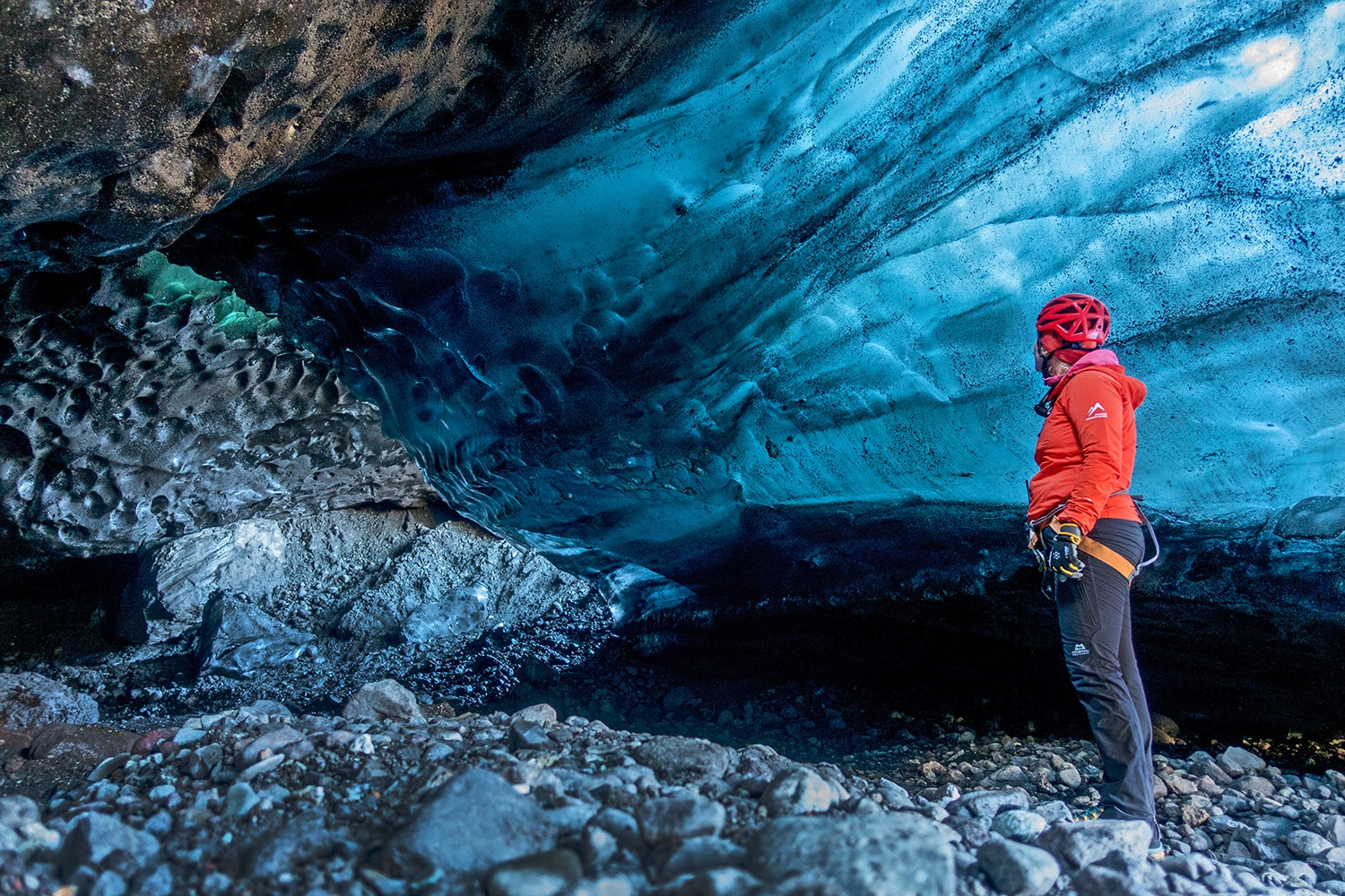 Blue ice inside the cave