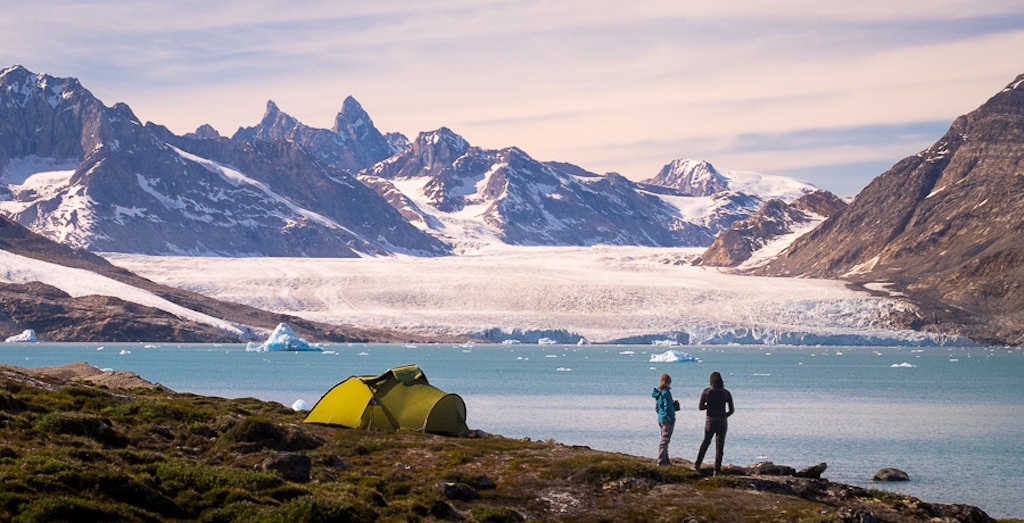 Overlooking gorgeous views in East Greenland on the Unplugged Wilderness Trek