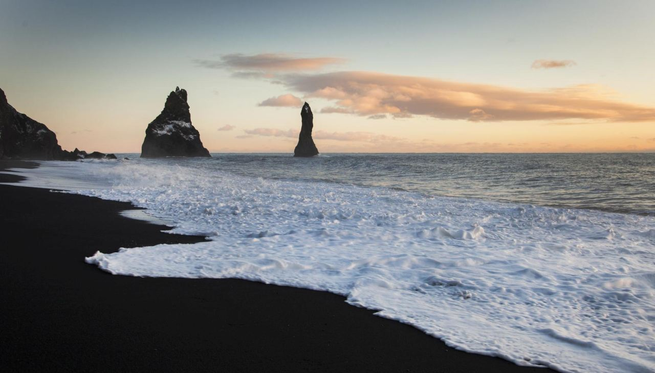 Reynisdrangar seen from Reynisfjara black beach