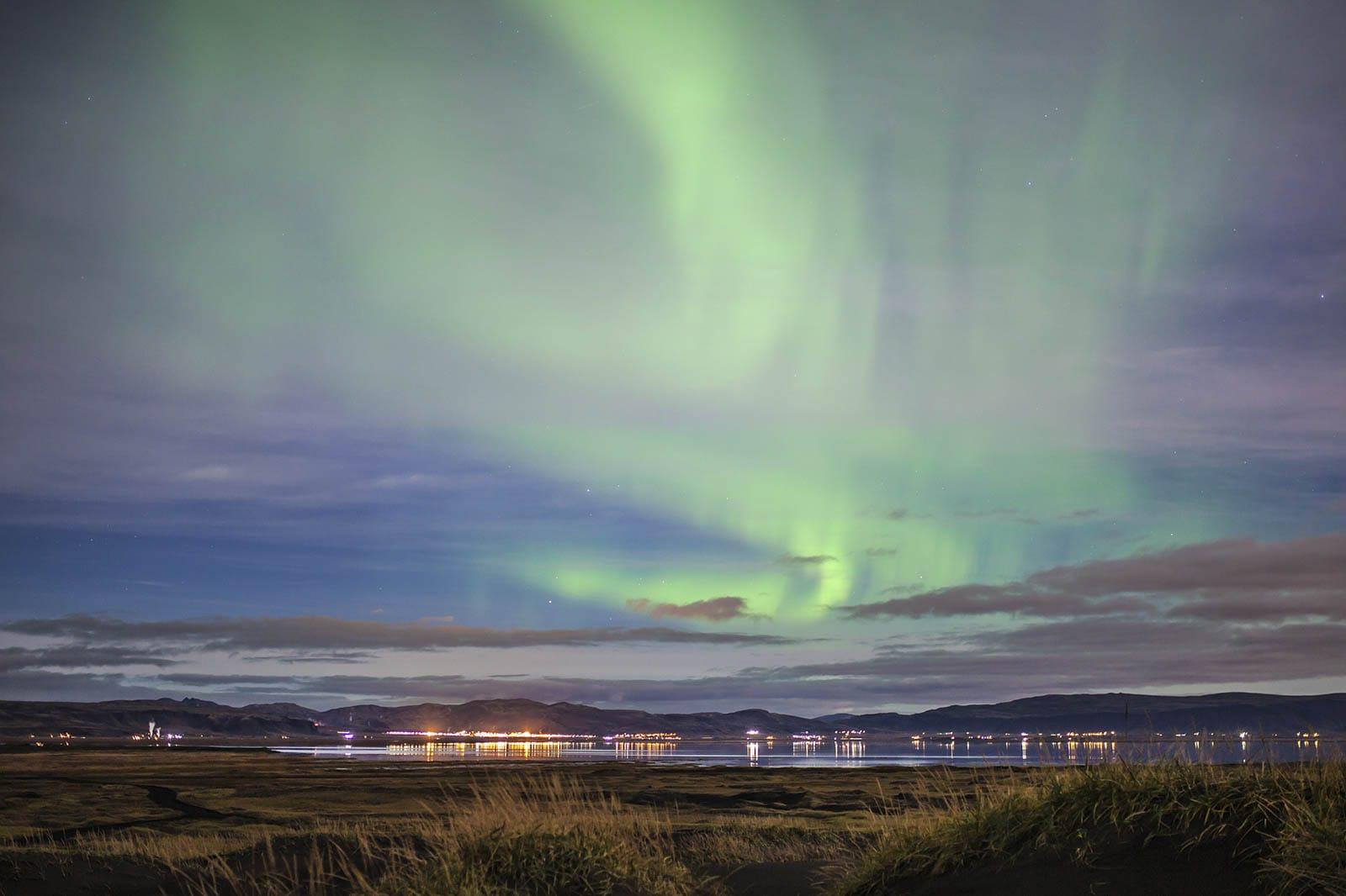 Nothern lights above Hveragerði village