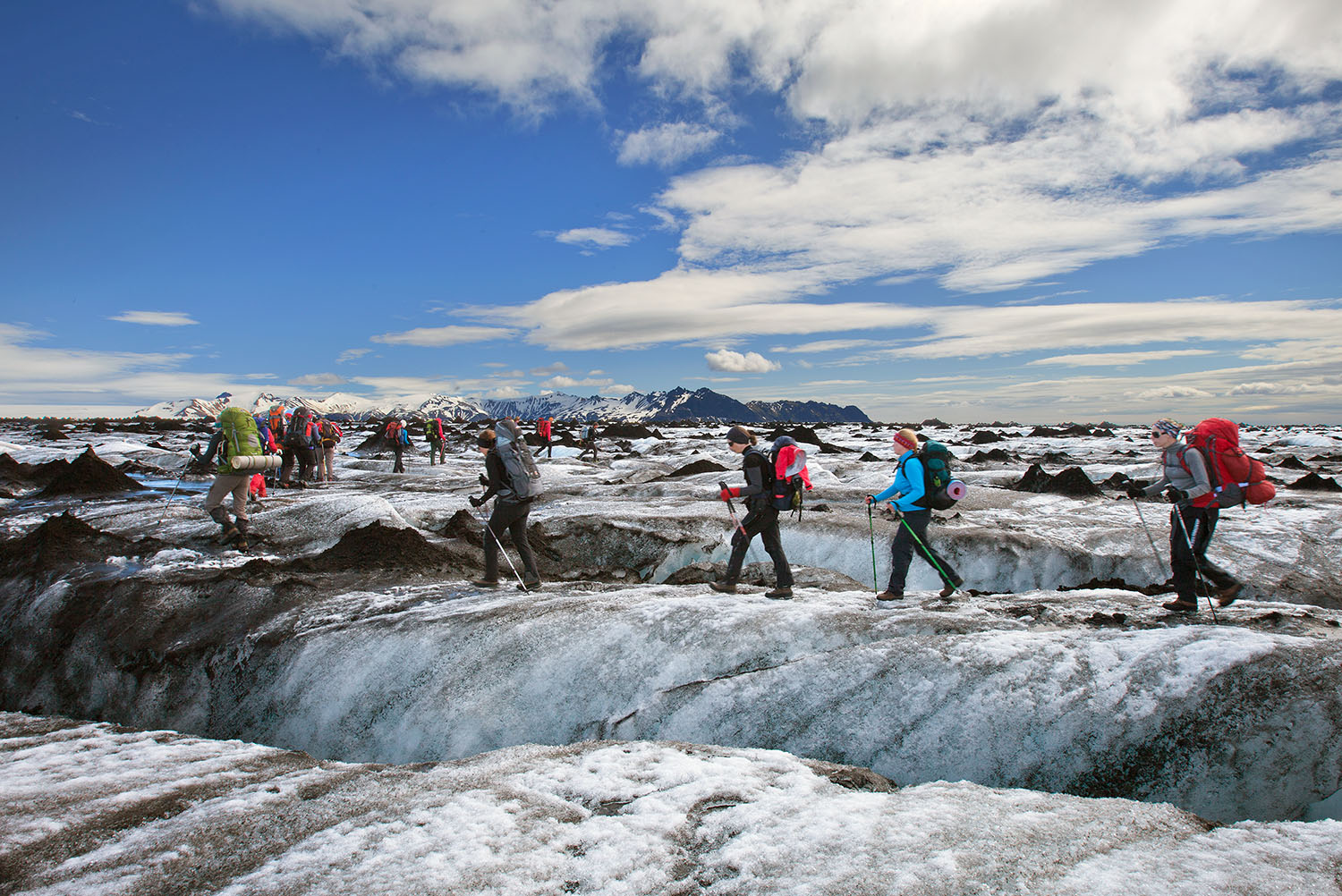 Hikers on the glacier