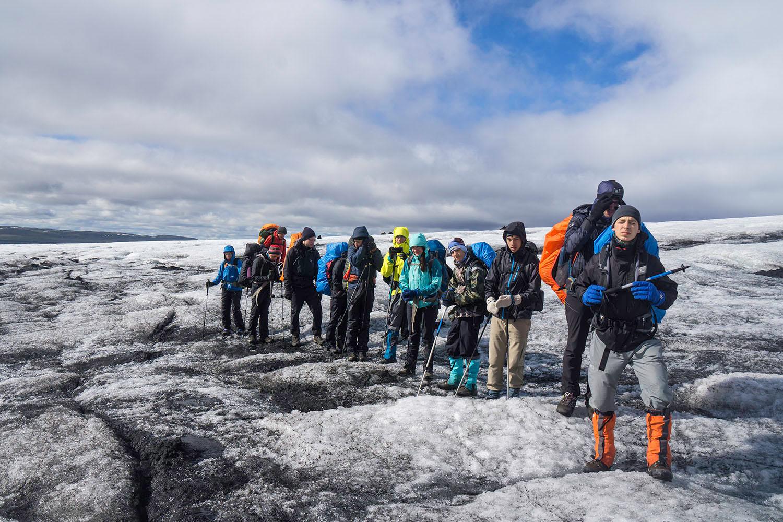 Hiking across the glacier tongue
