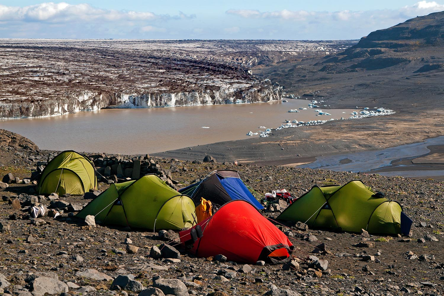 Camp site with a glacial view