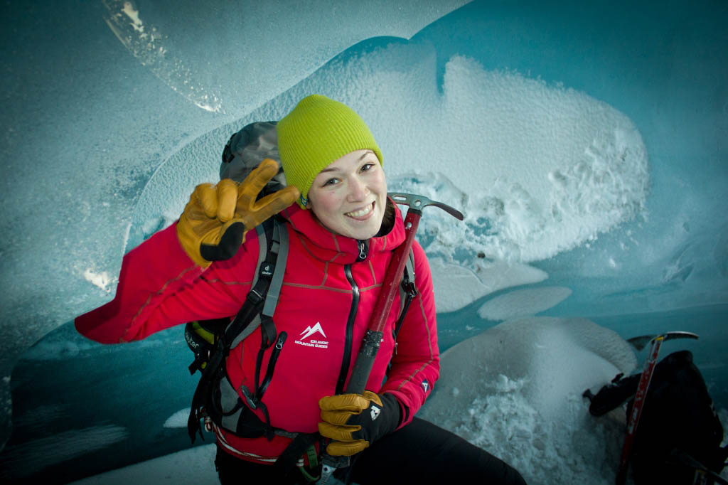 A glacier guide at the office