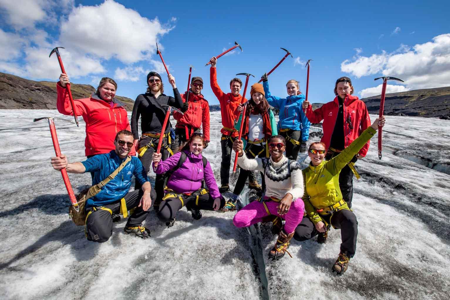 Happy people on the glacier