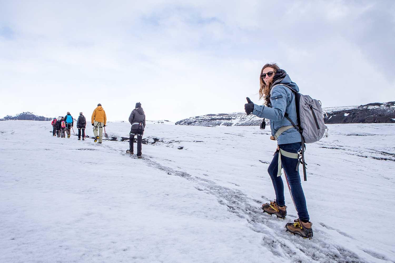 Heading up the glacier