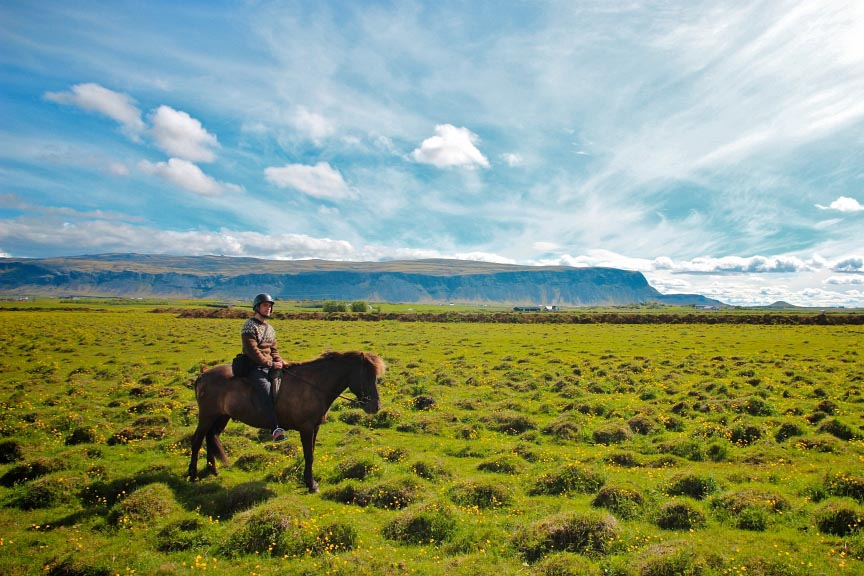 Riding on an Icelandic horse