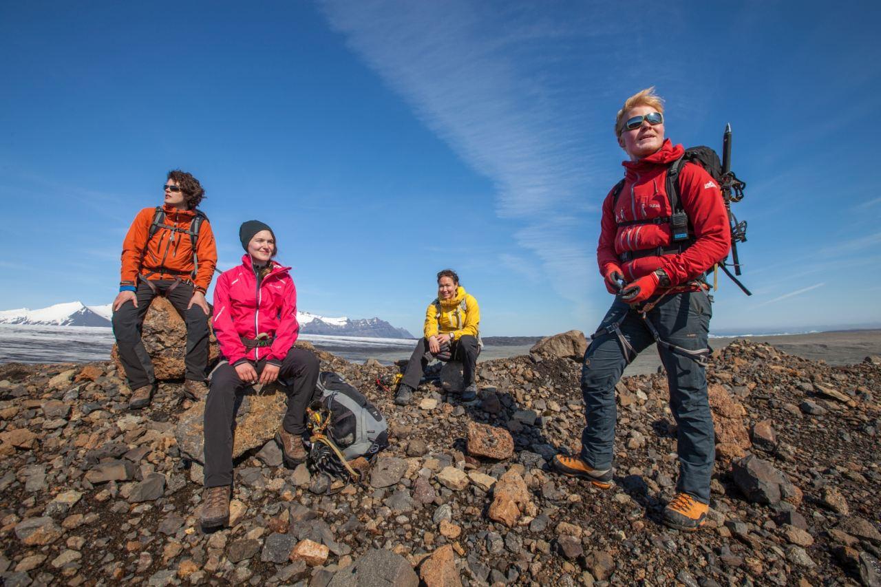 Resting a bit on a glacier moraine