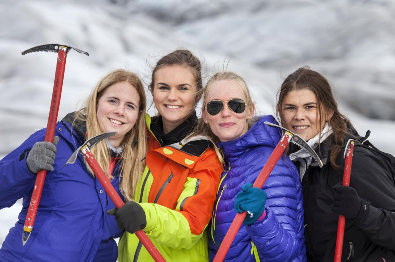 Happy girls on the glacier