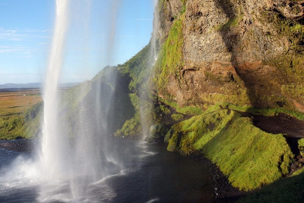 Behind Seljalandsfoss waterfall