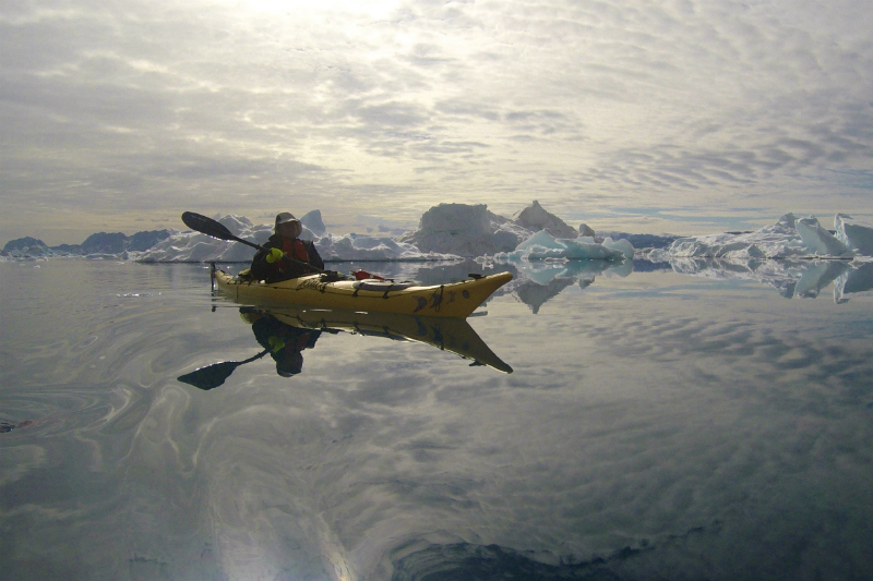 Kayaking in Greenland is a perfect way to see icebergs