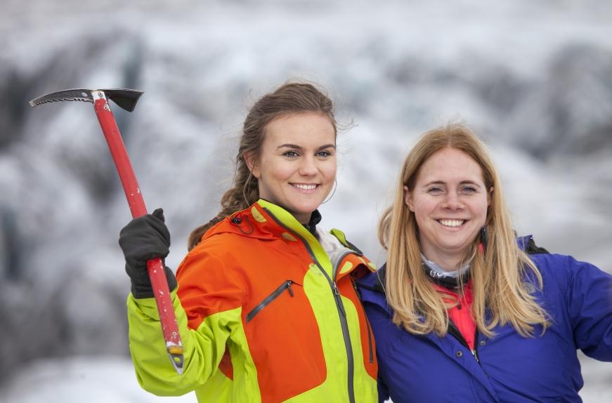 Happy girls on the glacier