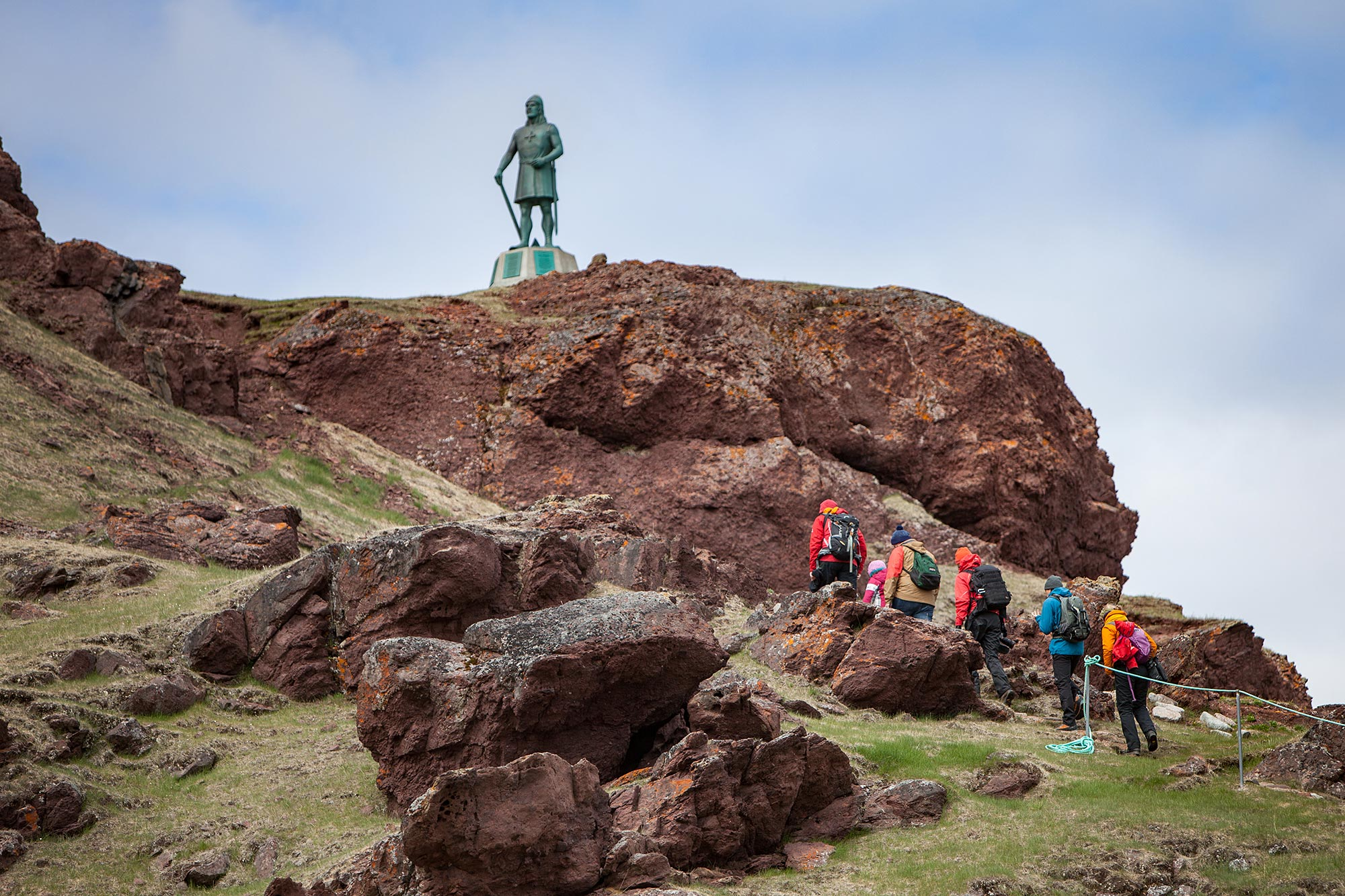 Sculpture and memorial of Erik the Red who found Greenland