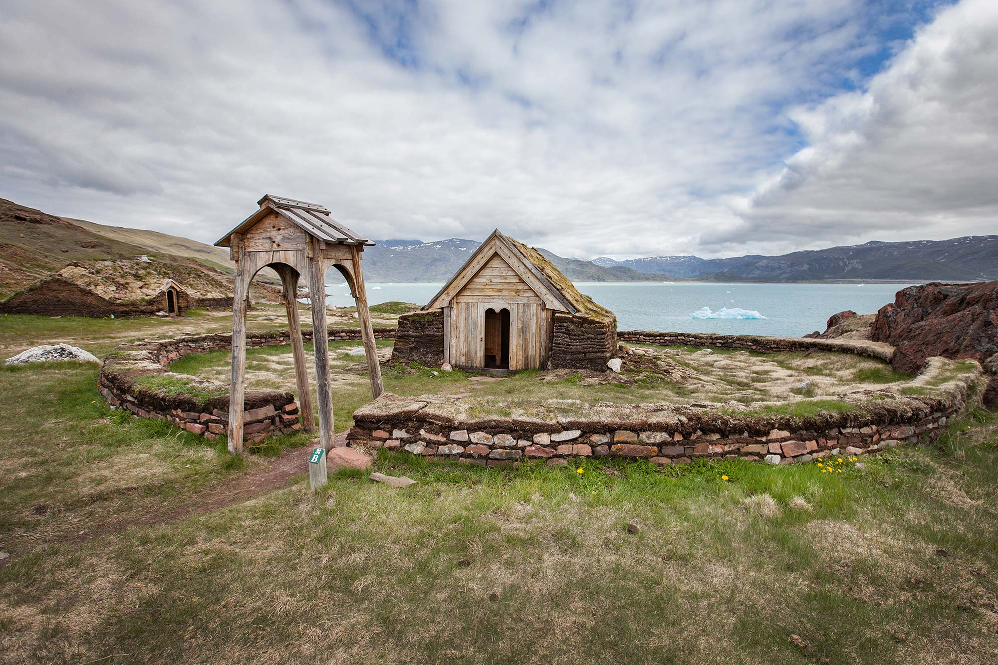Brattahlíð reconstructed viking church of Thjodhildur Greenland
