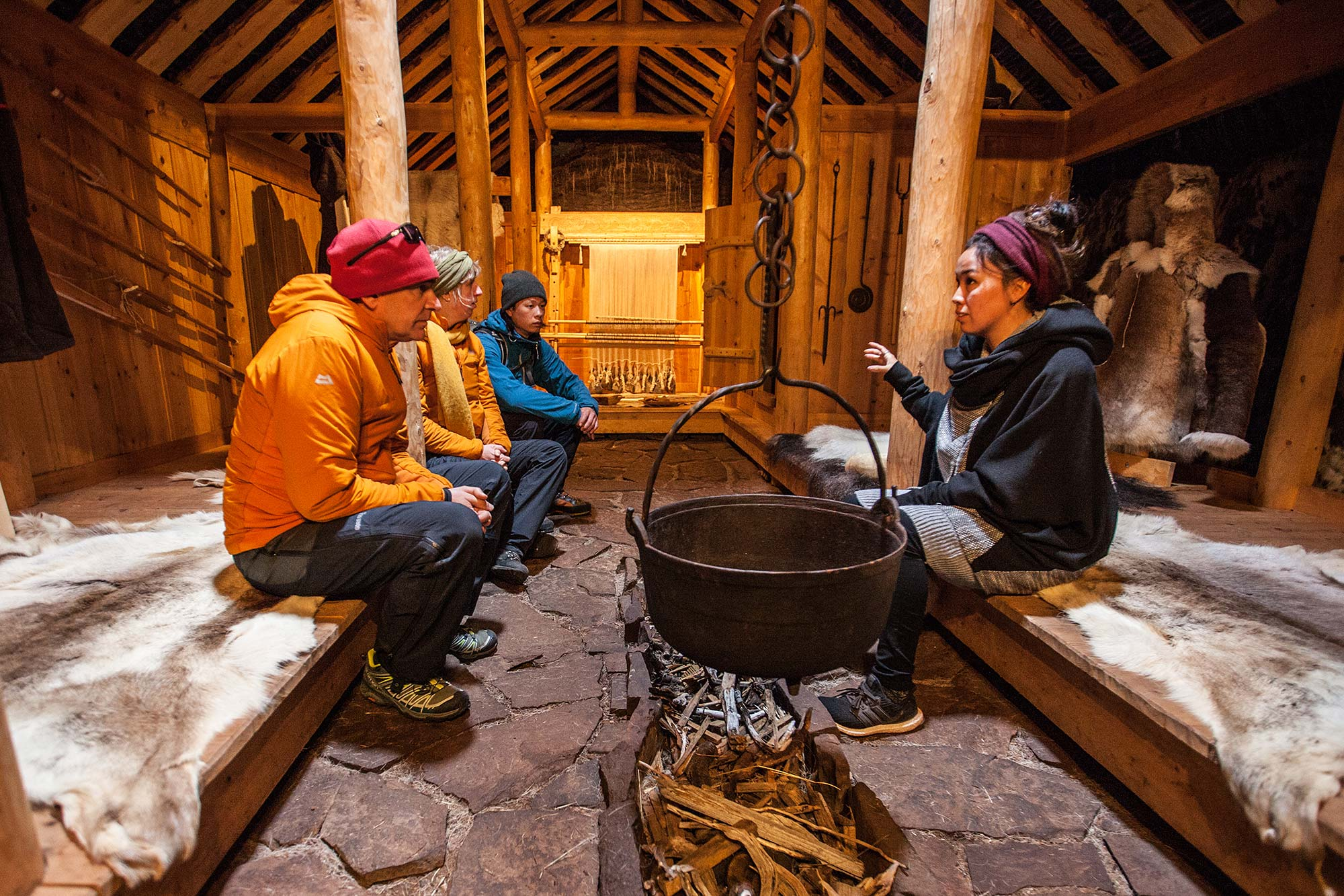 Inside the reconstructed longhouse of Erik the Red in Greenland