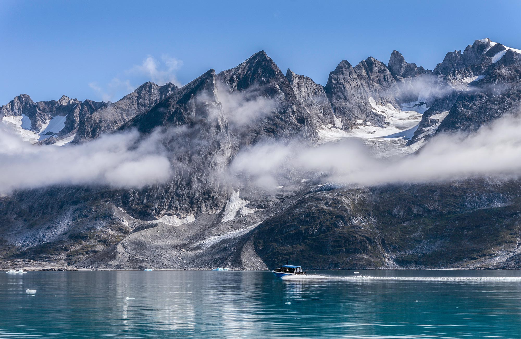 Boatride in the fjords of East Greenland