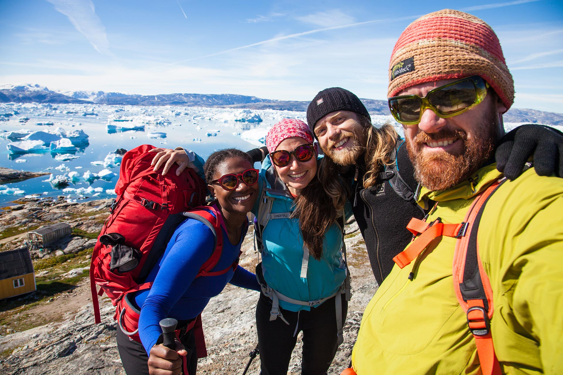Happy backpackers