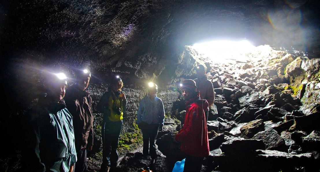 Inside Leiðarendi lava tube