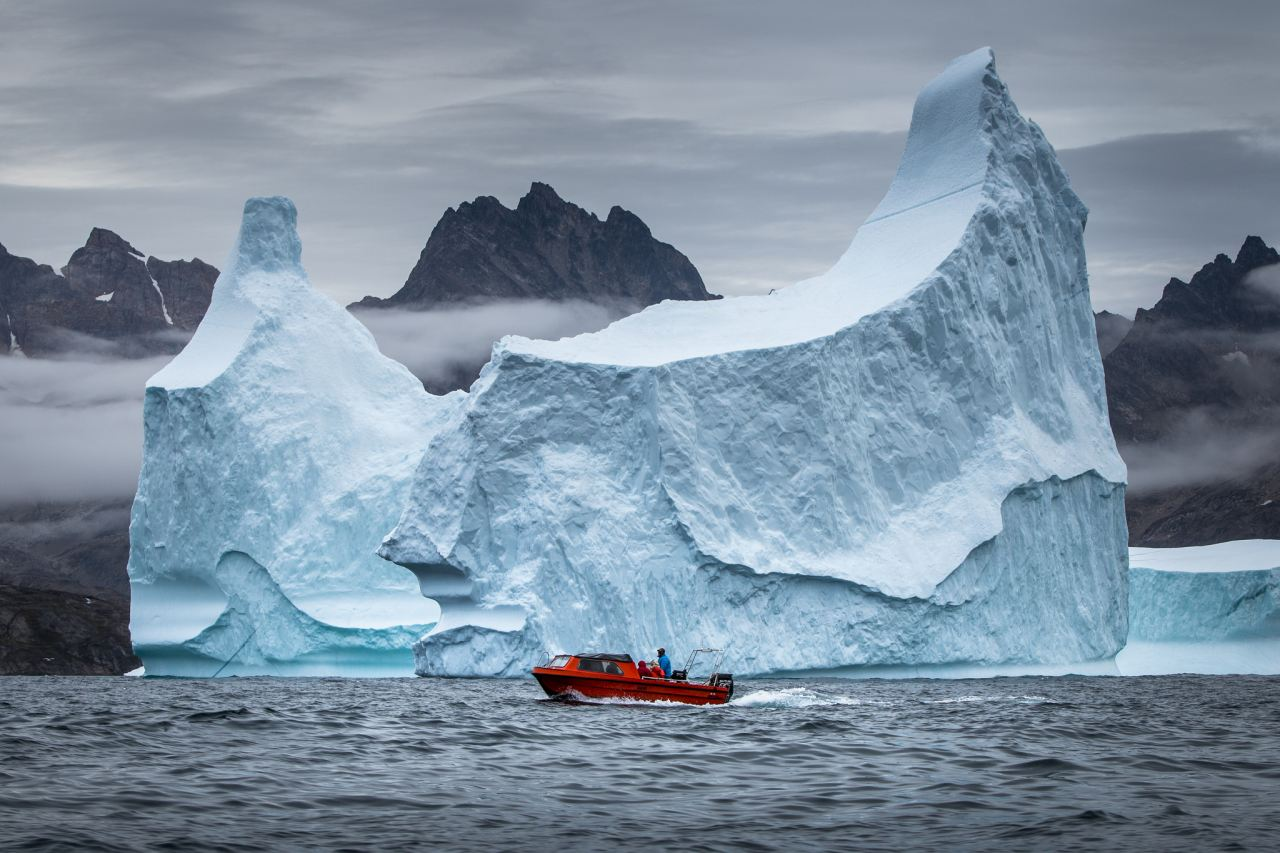 Boat excursion among icebergs